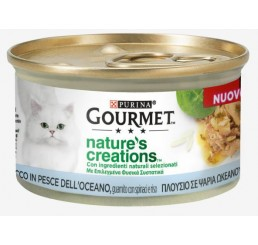 Purina Gourmet Nature's Creations gr 85 Ricco in Pesce dell'oceano, guarnito con spinaci e riso