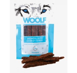 Woolf Snack Cani Monoproteico Strisce di Salmone e Carote 100 gr (Salmon with carrot strips)