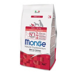 Monge cane Mini Puppy & Junior Ricco di Pollo 3 Kg