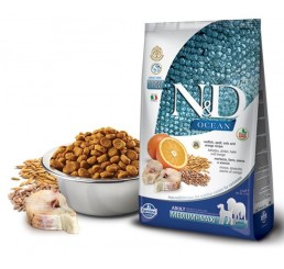 Farmina N&D (Natural & Delicious) Ocean Dog Low Grain Adult Medium Maxi Merluzzo, farro, avena e arancia 2,5 Kg