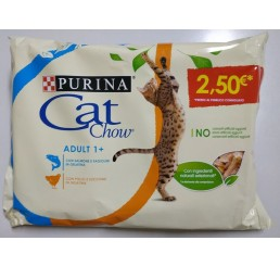 Purina Cat Chow Busta Gatto Adult 4x85 gr Salmone Pollo