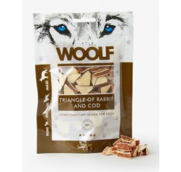 Woolf Snack Cani Triangolini di Coniglio e Merluzzo 100 gr (Triangle of rabbit and cod)